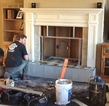 installers stoneworks fireplace installation granite project