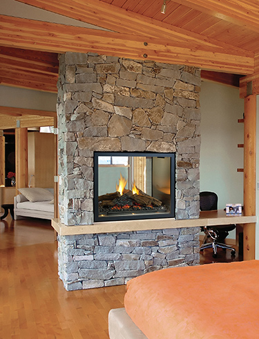 Gas fireplace installation at home in Volcano CA