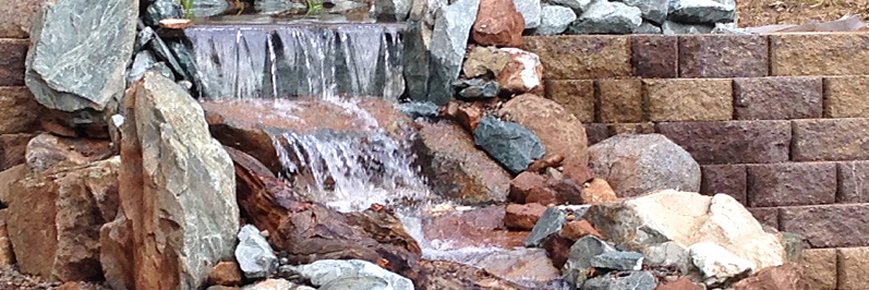 waterfall installed at pond construction Jackson CA area Amador County & Calaveras County